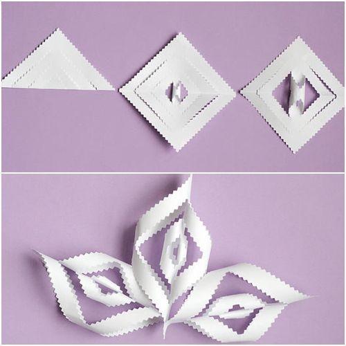 Manualidades de navidad copos de papel para decorar - Papel para cristales ...