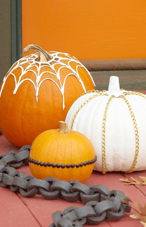 Manualidades halloween decorar calabazas sin vaciar regalo y fiesta - Decoracion calabazas halloween ...