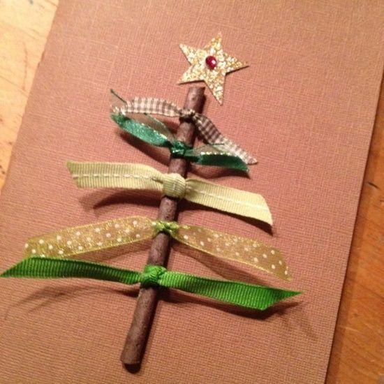 Postales de navidad originales con cintas y ramas secas regalo y fiesta - Ideas originales para postales de navidad ...