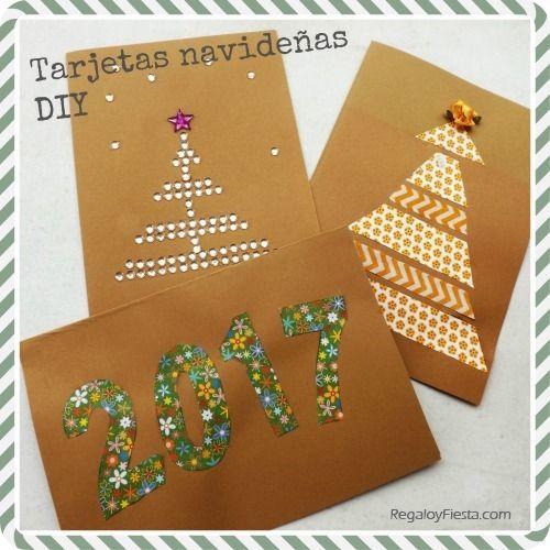 Tarjetas navide as hechas a mano con materiales sencillos - Como hacer tarjetas de navidad faciles ...