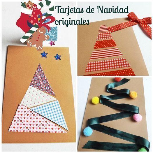 Diy 3 tarjetas de navidad originales hechas a mano - Tarjeta de navidad manualidades ...